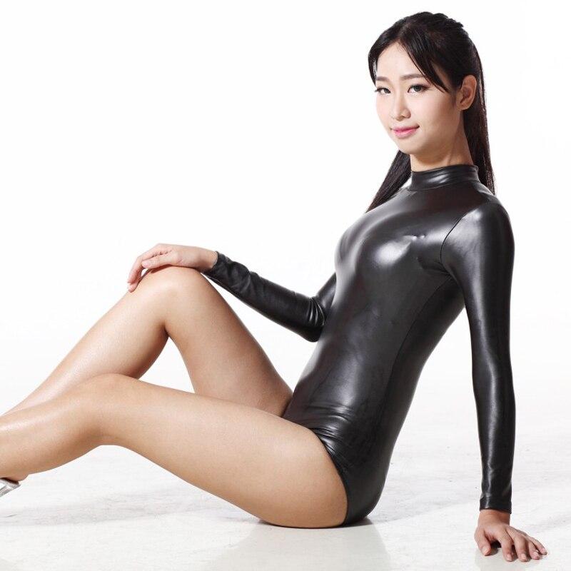 Donne Sexy Due Vie Cerniera Cavallo Aperto 200D Latex Body Catsuit perizoma Manica Lunga Moto & Biker Club Wear Plus Size F118