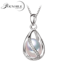 Real Pearl Jewelry,100% natural Pearl Pendant Necklace,fashion style Natural Freshwater Pearl Silver Necklace Pendant,gift box недорого