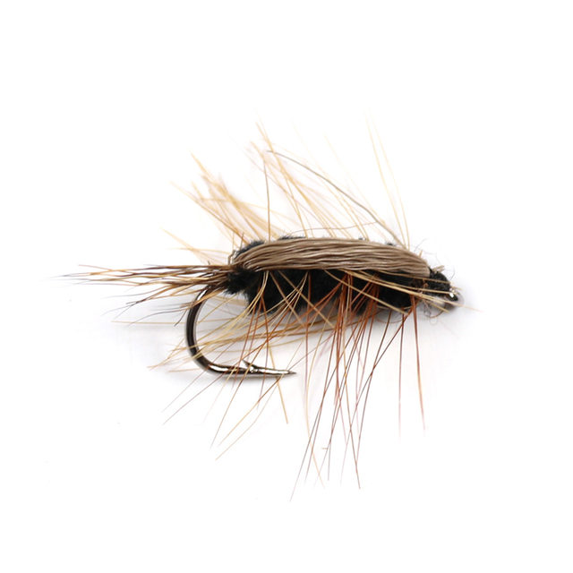 10PCS #6 Black Body Woolly Worm Brown Caddis Nymph Fly Deer Hair Beetle Trout Fly Fishing fly Bait 2
