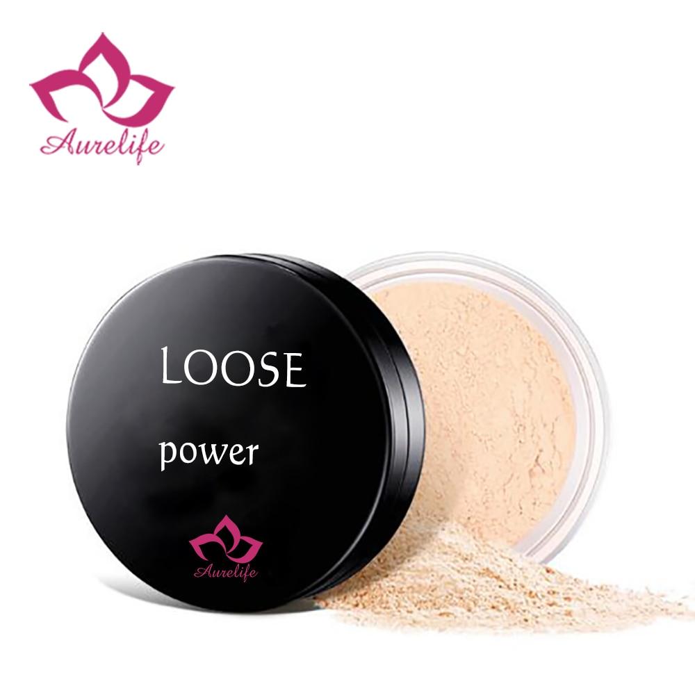 Aurelife suelto maquillaje en polvo transparente polvo de acabado impermeable soplo cosmético para cara terminar de poner con Puff