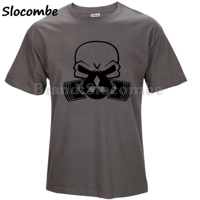a7ce6f33f47 Mitsubishi Motors logo Piston Gas Mask Skull Decal T-shirt men Repairs summer  short sleeve T shirt