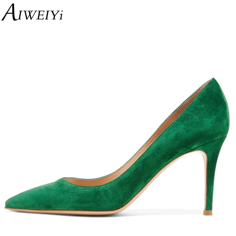 AIWEIYi Women High Heels Pointed toe Platform Pumps Flock Skin 8CM Green Ladies Wedding Shoes Slip On Stiletto Shoes Woman aiweiyi women s pumps shoes 100