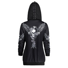 Gamiss Hoodies Sweatshirt Women Lace Up Hat Skull Wings Print Zip Up Hoodie Punk Style Femme Casual Hooded Pullover Women Top(China)