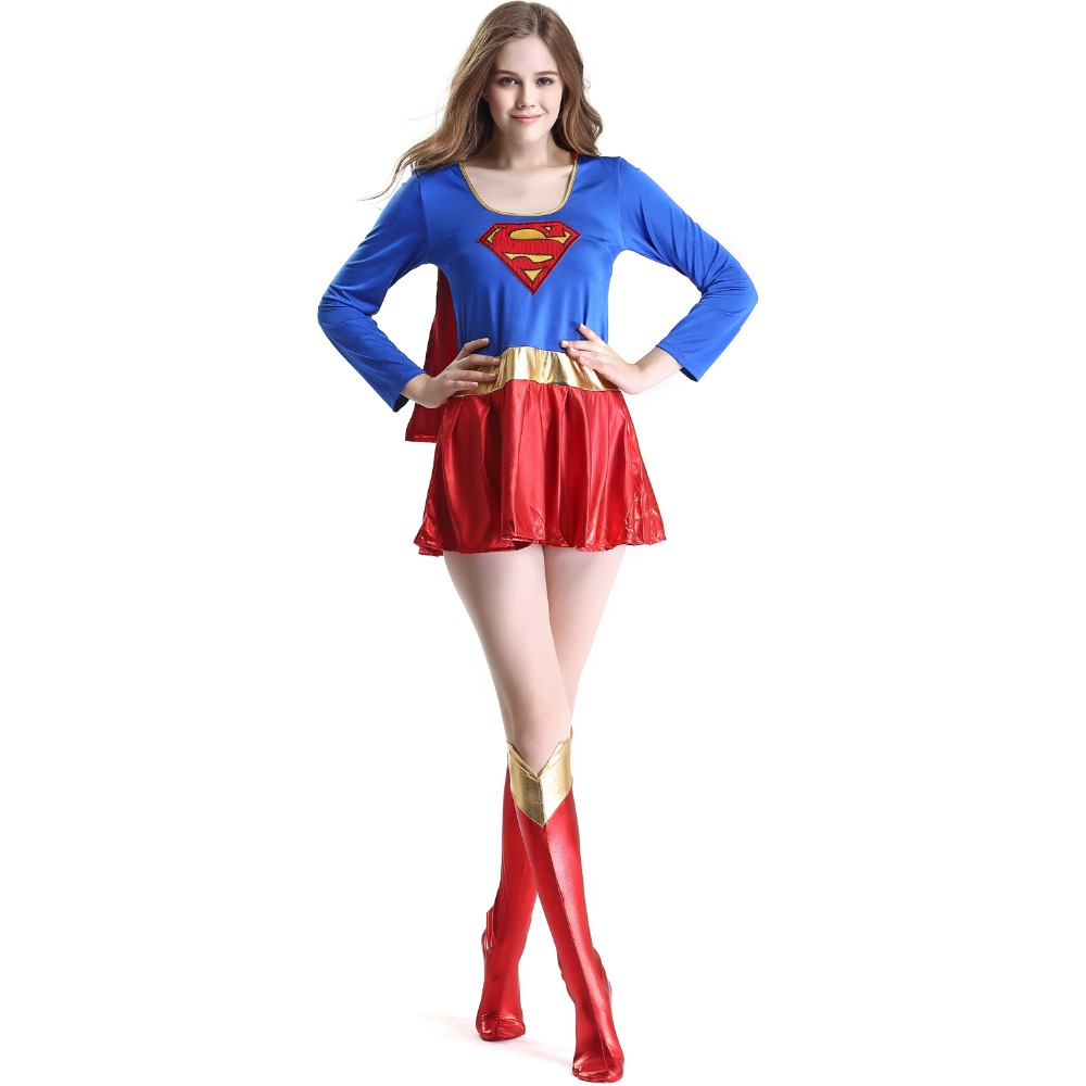 Ensen Superwoman Costume Cosplay Supergirl Superhero Costumes For Halloween Carnival Festival Adult Red Fancy Dress Games Xl-1474
