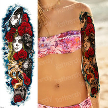 full arm temporary tattoos suger skull Rose horror clock tattoos mexican day of the dead Halloween tattoo body tattoo for women