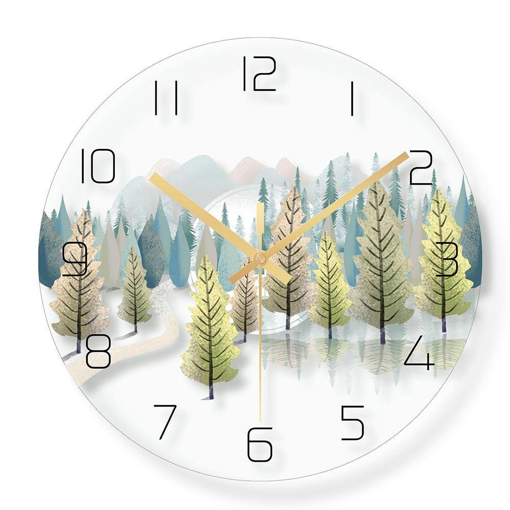 Charming Forest 12 Inch Wall Clock Green Leaves Mute Wall Clock Nordic Green Plant Modern European Style Living Room Wall Cloc(China)