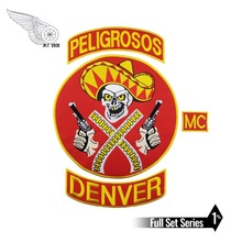 HOT SALE PELIGROSOS DENVER RED COWBOY WITH GUN MOTORCYCLE CLUB VEST OUTLAW BIKER MC JACKET PUNK LARGE BACK IRON ON WEST PATCH new arrival mc aces eights jersey embroidery patch motorcycle club vest outlaw biker jacket iron on patch free shipping