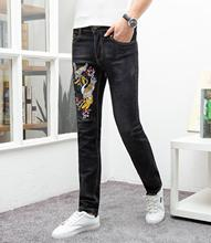 2019 Men's Fashion Ripped Jeans men Skinny Slim Fit Zipper Denim Pant Destroyed Trousers streetwear Style Pants Dropshipping 2017 patch ripped jeans slim fit patchwork print denim pants fashion zipper pocket long trousers 28 38