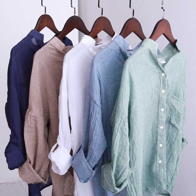 New 2015 Women Linen Shirt Blouse Three Quarter Sleeve Linen Blouse