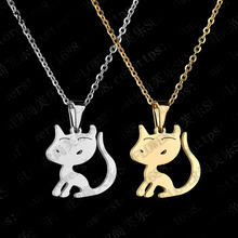 Eleple Cute Cartoon Kitten Pendant Clavicle Chain for Girls Sweet Stainless Steel Party Gifts Necklace Wholesale Factory S-N488 цена и фото