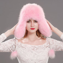 Russian Fox Fur Hat knitted cap winter real fox fur hat fur bomber hats women 100% Natural Genuine leather top fur caps female  недорго, оригинальная цена