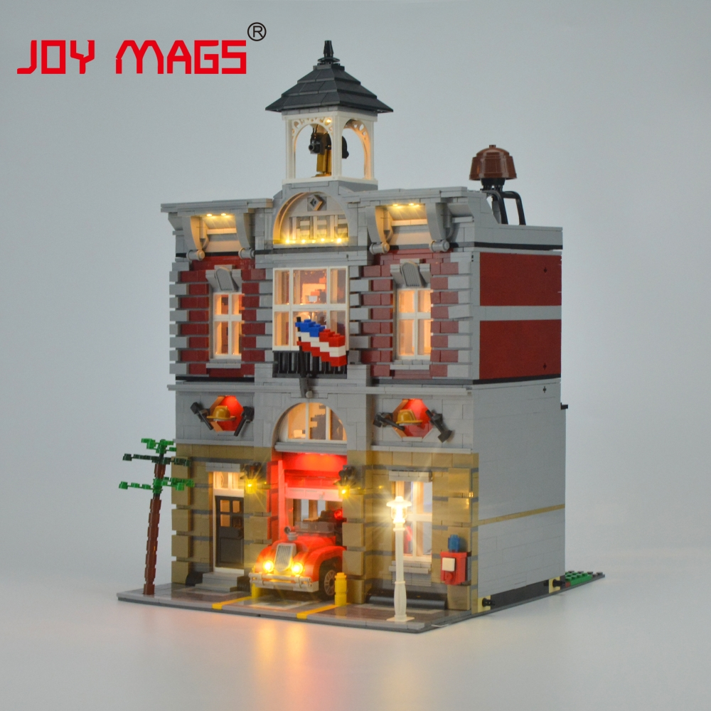 JOY MAGS Led Light Kit för Creator Fire Brigade Doll House Light Set Kompatibel med 10197 och 15004 (INTE INKLUSIVE MODELLEN)