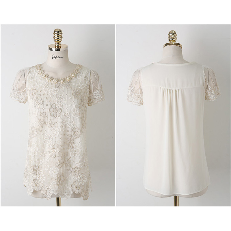 moda qadınlar qısa qol ağ krujeva qadın bluza blusas de rendas - Qadın geyimi - Fotoqrafiya 3