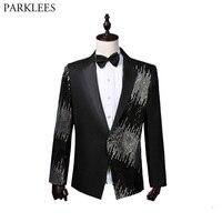 Black Sequin Patchwork Blazer Jacket Men Nightclub Bar Prom One Button Suit Blazer Men Wedding Party Stage Singer Costumes XXL