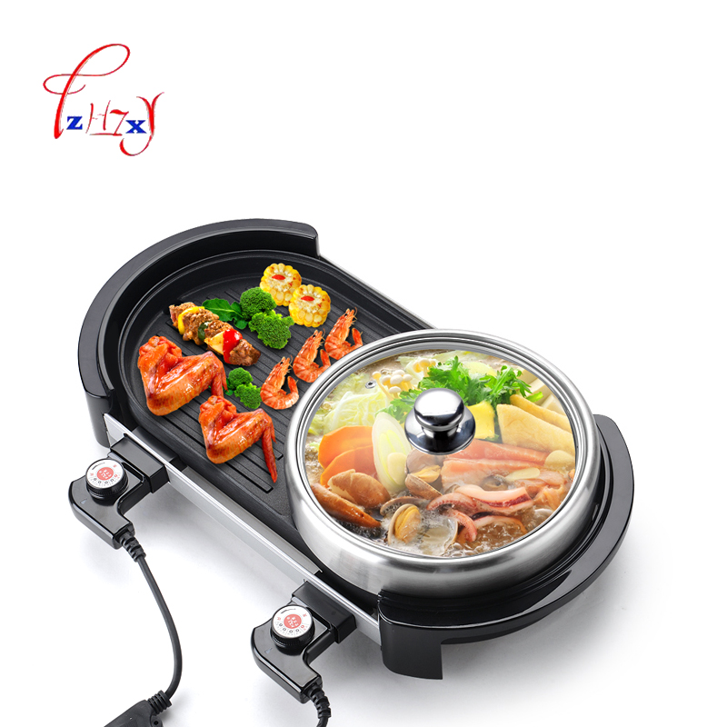 Multi-function Electric Smokeless Indoor Bbq Grill Barbecue Plate+Chafing Dish Hot Pot Smokeless barbecue machine 220v 2000w 1pc cukyi electric oven barbecue hot pot smokeless barbecue and pan teppanyaki two flavor hot pot