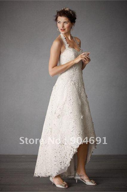 Asymmetrical Bridal Dress White Ivory Red Black Venice Lace Wedding Short Front Long Back Custom