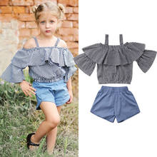 Fashion Kids Baby Girl Off-shoulder Clothes Plaids Print Short sleeve Strap Shirt Top Blue High Waist Shorts 2Pcs Summer Clothes(China)