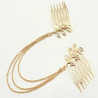 Fashion Womens Gold Tassel Leaf Comb Cuff Chain Jewelry Headband Hair Band H6556 P10