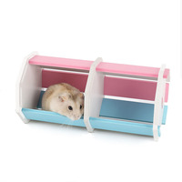 1 Set New Design DIY Assembling Various Shapes Magic Room Hamster Mouse Wooden House Villa Cabin