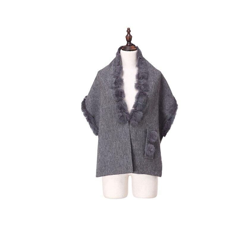 ZY87035 conception spéciale mode automne hiver écharpe en laine avec col de lapin de luxe femmes châle enveloppe Poncho solide - 2
