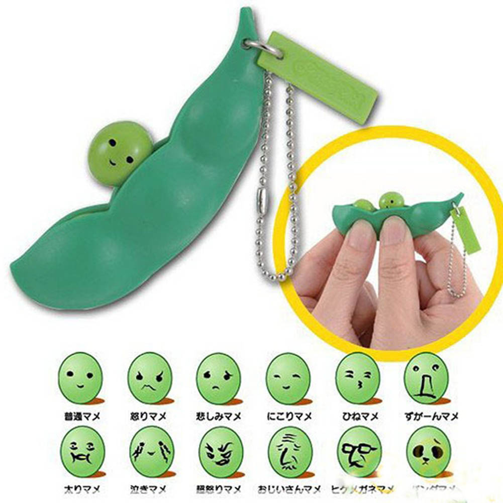 Free Shipping New Creative Extrusion Pea Bean Soybean Edamame Stress Relieve Toy Keychain Cute (Random expression)