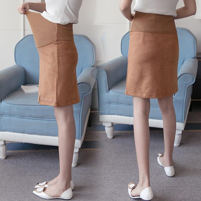 Сексуальные юбки для беременных элегантные модные трапециевидные осенние Юбки До Колена для беременных модные коричневые женские юбки