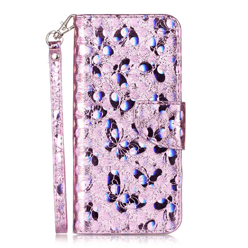 New Fashion 6 Colors Laser Butterfly Case for Samsung Galaxy S5 S6 S7 Edge S8 Plus PU Leather Wallet Phone Cover with Card Slots
