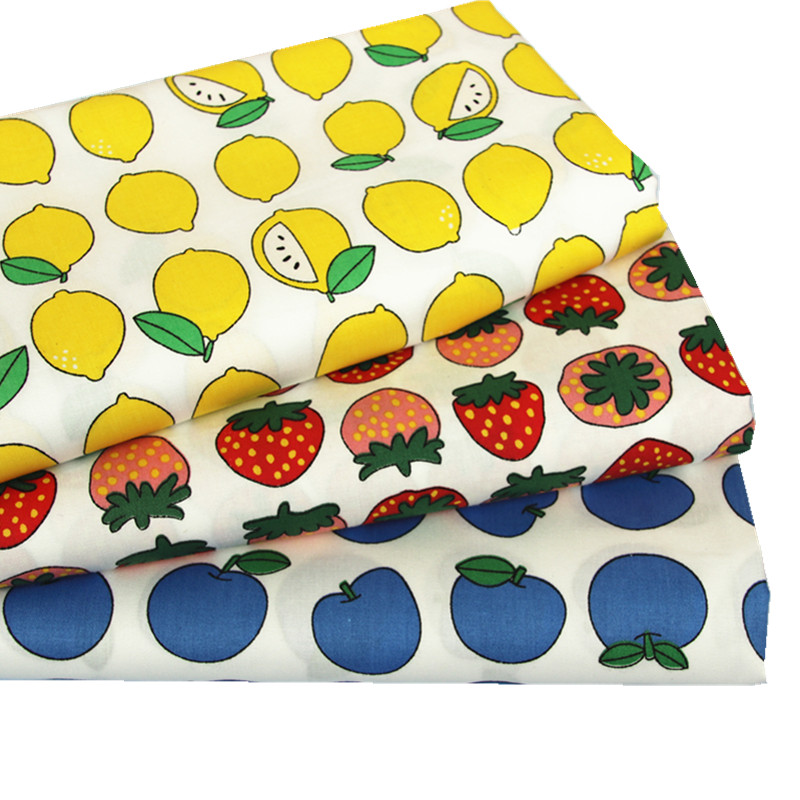 50x160cm 100% Cotton Fabric Lemon/Stawberry/Apple Print Fabric for Sewing Patchwork Cott ...