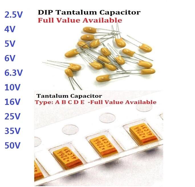 10pcs Tantalum Capacitor A B C D 476 106 6.3V 10V 16V 25V 35V  0.22/1/2.2/4.7/6.8/10/22/33/47/68/100/150/220/330/470uf SMD DIP