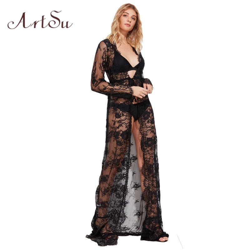 b0e04c5060f2 ArtSu Women Lace Long Dress Sexy Elegant V-Neck Long Sleeve Bodycon Summer  Party Maxi