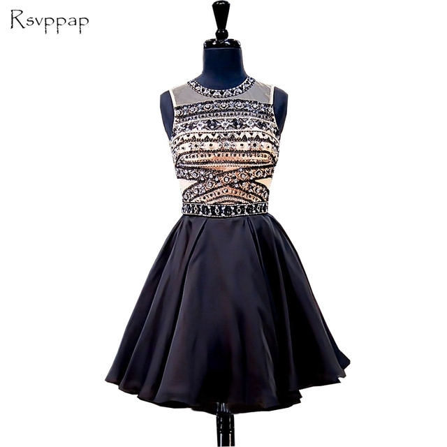 Stunning Junior 8th Grade Prom Party Dresses A Line Beaded Crystals