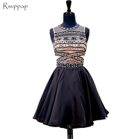 Stunning Junior 8th Grade Prom Party Dresses A line Beaded Crystals Backless Black Short Homecoming Dress 2018