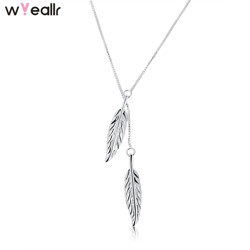 Double Leaf Feather Silver Charm Pendant 925 Sterling Fashion Necklace For Women Gift 2018 Collares Jewelry Accessories WSN54
