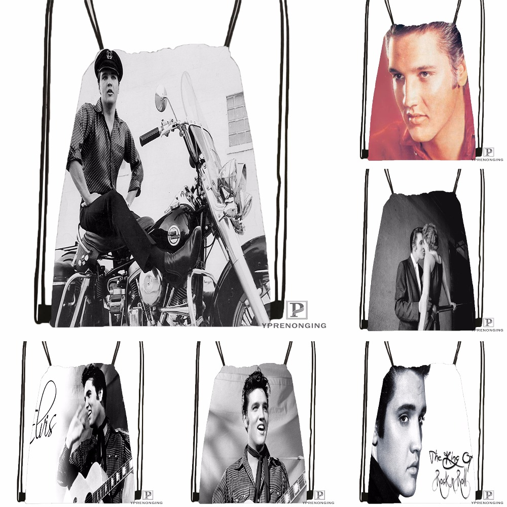 Custom Elvis Presley Tutte @092Drawstring Backpack Bag Cute Daypack Kids Satchel (Black Back) 31x40cm#180531-03-30