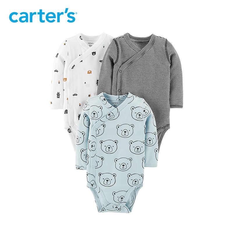 Carters 3pcs Baby Boy Bodysuit Cute Print Side Snap Long Sleeve Cotton Bodysuits Newborn Baby Clothes 126h439 126h438 126h506