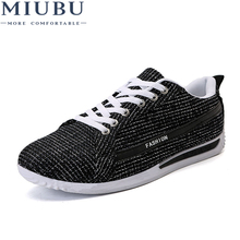 MIUBU New Summer Fashion Outdoor Low Mens Casual Shoes Comfortable Breathable Adult Solid Color Cloth Lace Up For Male