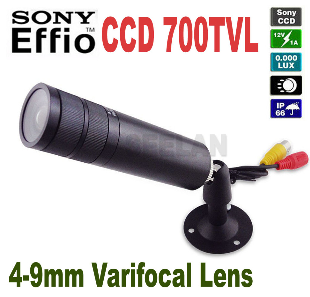 HQCAM 700TVL 1/3 Sony Effio-E CCD 4140+810\811 Mini Bullet Camera CCTV Security Camera 4-9mm Waterproof Varifocal Lens COLOR 700tvl sony 811 810 nextchip2090 osd menu mini bullet camera mini ccd outdoor waterproof 2 8mm cctv security camera for 960h dvr