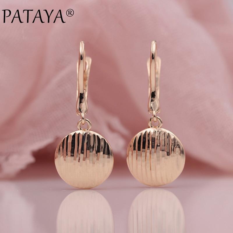PATAYA New Arrivals Trendy 585 Rose Gold Wavy Stripes Dangle Long Earrings Women Wedding Party Unique Fashion Fine Cute Jewelry