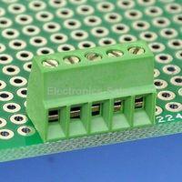 100pcs 5 Poles 2.54mm/0.1 PCB Universal Screw Terminal Block