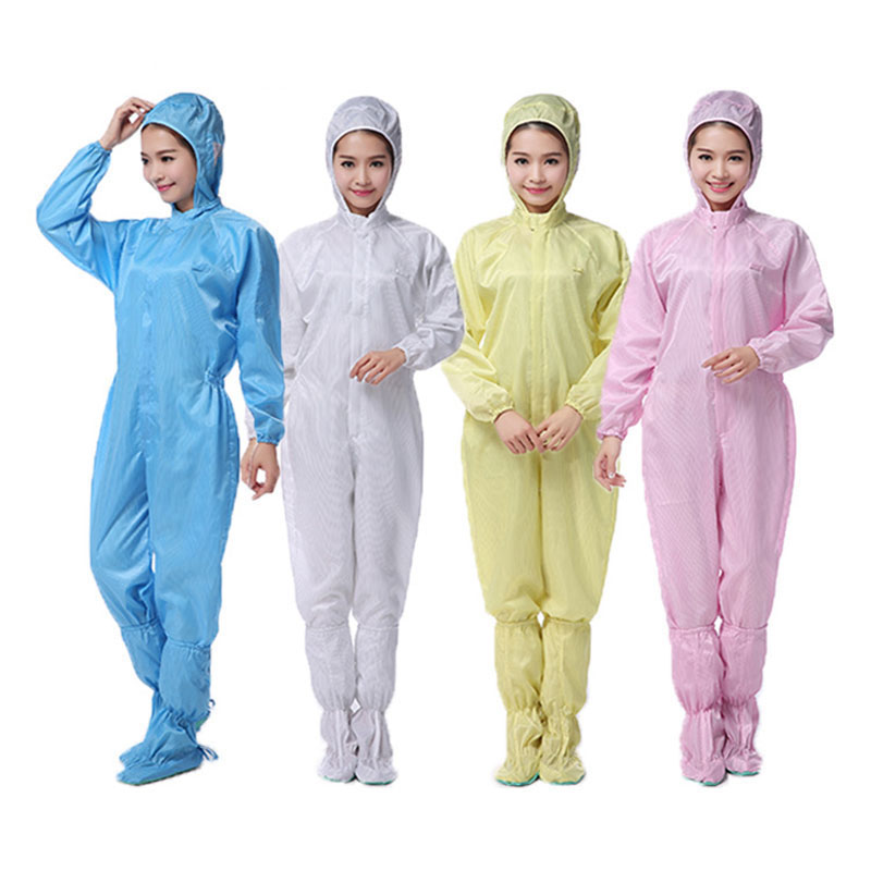 Anti-static Coverall Polyester Filament+Semi-conductive Fibre Cleanroom Garments Clean food Dust-proof Paint Work Clothing anti static clothing hooded dust proof coveralls cleanroom garments factory clean food paint work protective clothing unisex