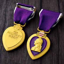 우수한 품질 미국 미국 육군 보라색 심장 군사 메달 가슴 배지 cllection 가슴 메달 리본 상자 장식
