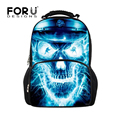 Cool Skull Backpack for School Men's Felt Travel Backpack High School Teenager Boys Rucksack Big Children Book Backpacks