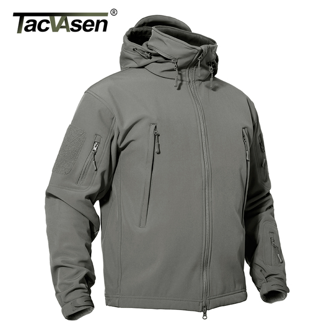 TACVASEN Men Soft Shell Jacket Coat Autumn Military Tactical Jacket Male Winter Waterproof Hunt Jacket Army Windbreaker Clothing