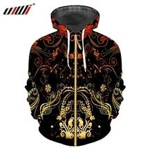 UJWI mannen Nieuwe Zwarte Lange Mouwen Jas 3D Print Gele Bloemen En Bladeren Streetwear Plus Size 5XL Lente Man wijnstok Zip Hoodies
