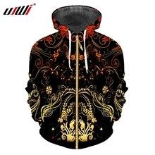 UJWI الرجال جديد أسود طويل الأكمام معطف ثلاثية الأبعاد طباعة الأصفر الزهور والأوراق الشارع الشهير حجم كبير 5XL الربيع رجل الكرمة أغطية رأس بسحاب