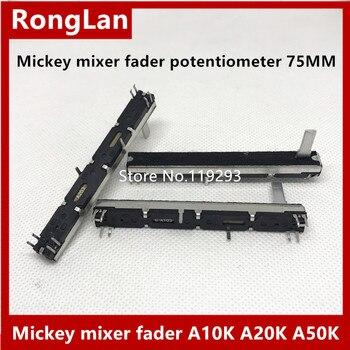 [BELLA]Mickey table de mixage fader potentiomètre 75MM 7.5CM de long double- A10K A20K A50K A10KX2 potentiomètre stéréo toboggan-4 pièces/lot