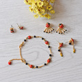 Les Nereides Red  ladybug  insect Gold Plated Enamel Glaze New Arrival Cute Love Animal Earring Bracelet Free Shipping