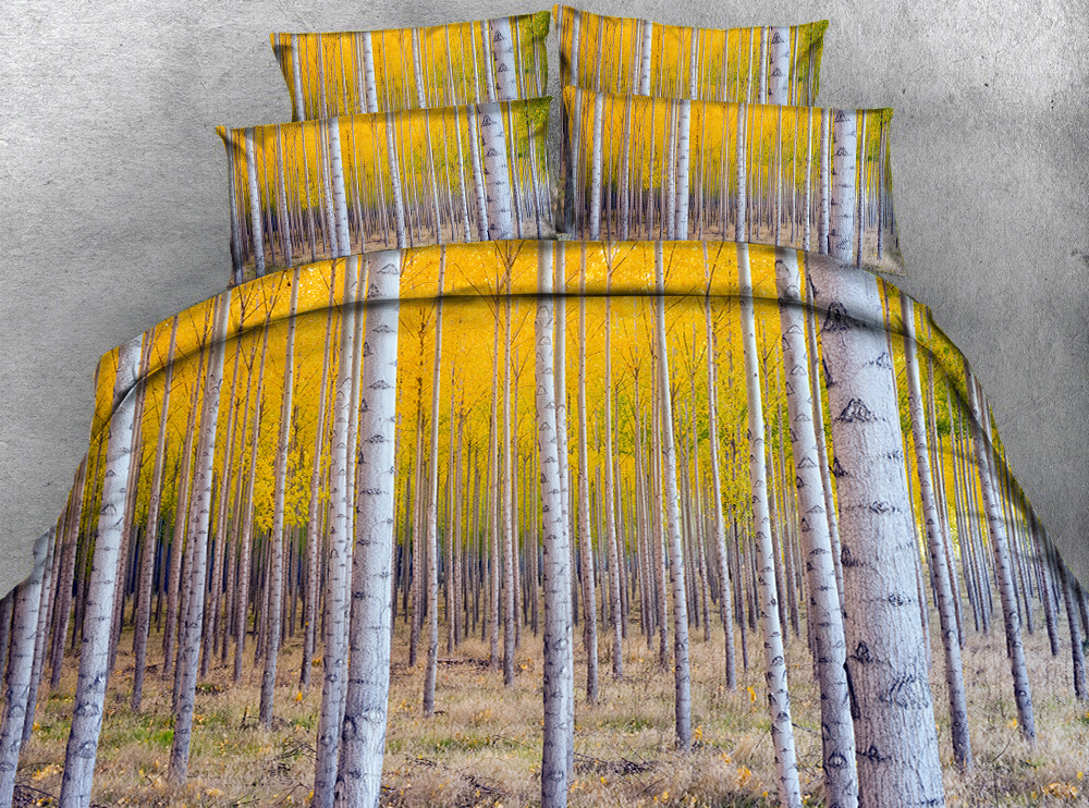 A few forests in the dry lawn 3d effect photo bed linen can be customized photo pattern