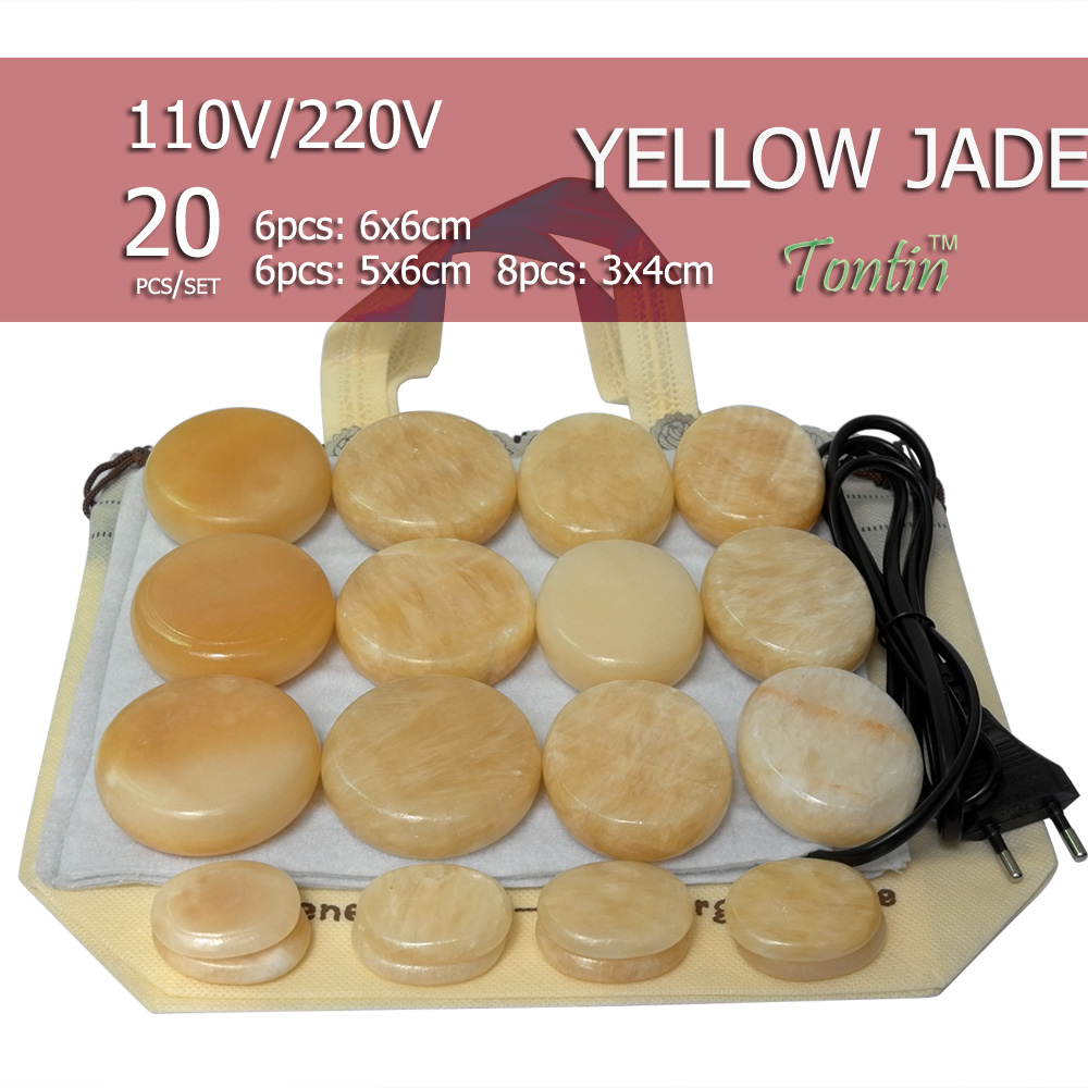 New Natural Energy massage stone set hot spa rock yellow jade stone with heater bag ( 20pcs 6pcs 6x6+6pcs 5x6 + 8) 4 pieces natural white color hot spa rock 6cm 8cm massage stones for beauty bar accessories