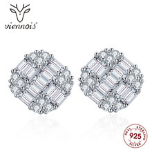 Viennois Fashion 925 Silver Stud Earrings White Square Earring for Women Jewelry